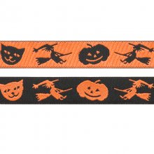 Broderat band - Halloween - 16 mm - Häxor, Katter & Pumpor - Orange/Svart
