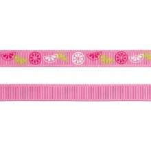 Grosgrainband - 10 mm - Citrusfrukter - Rosa