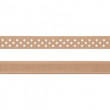 Grosgrainband - Prickar - 10 mm - Beige/Vit
