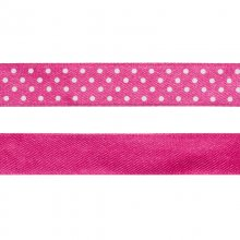 Satinband - 16 mm - Rosa med vita prickar
